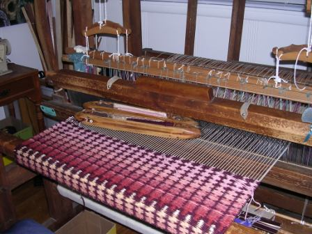 weaving on loom